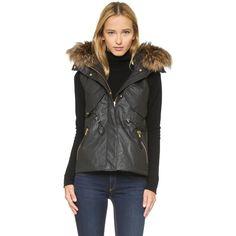 SAM. Dakota Vest ($655) ❤ liked on Polyvore featuring outerwear, vests, carbon, zipper vest, vest waistcoat, zip vest, fur waistcoat and fur lined vest
