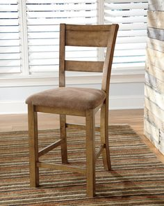 Dining Room Chairs: Krinden Upholstered Barstools by Ashley Furniture at Kensington Furniture. These chairs are perfect for a farmhouse dining room.