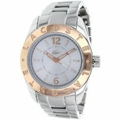 Lacoste Women's 'Biarritz' Two Tone Silver and Gold Watch - 2000711 Lacoste. $169.00. Analog Display. Water Resistant 30 Meters. Women's Dress Watch by Lacoste. Stainless Steel Case and Band. Two Tone Gold/Silver Design. Save 32% Off!