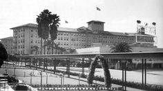 I'm not sure why the Ambassador Hotel on was set so far back from Wilshire Boulevard, but at least the architects thought to provide a covered walkway to the street. I'm pegging this photo at around 1934—that's the year that Jay Whidden and his orchestra played both the Screen Actors Guild ball and the Ambassador Hotel. Jay was a popular songwriter and bandleader from the 20s and 30s whose main claim to fame now is that his girl singer for a while was a pre-Hollywood Betty Grable.