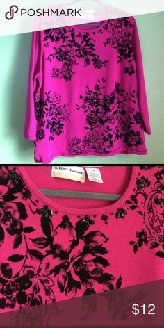 NWT Alfred Dunner Embellished Sweater ✨NEW WITH TAGS✨ Alfred Dunner Embellished Sweater. Pink w/ Black Rhinestones around the scoop neck. Very Pretty Black Rose Print. Fits a little smaller then 3X Alfred Dunner Sweaters Crew & Scoop Necks