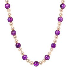 NL1019  Amethyst & Cultured Pearls & Silver