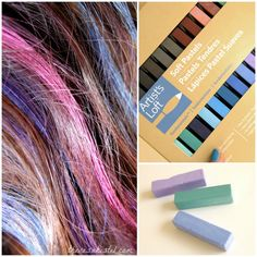 "Here is a fun, easy, and inexpensive way to add some vivid highlights to your hairstyle! Best of all, it's nonpermanent, so you can just wash it right out to return your hair back to normal. You will need ""soft pastels"" from the craft store"