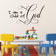 Children's Room Christian Wall Art, Wall Sticker | I am a Child of God