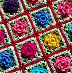 Rose Granny Square Blanket free pattern