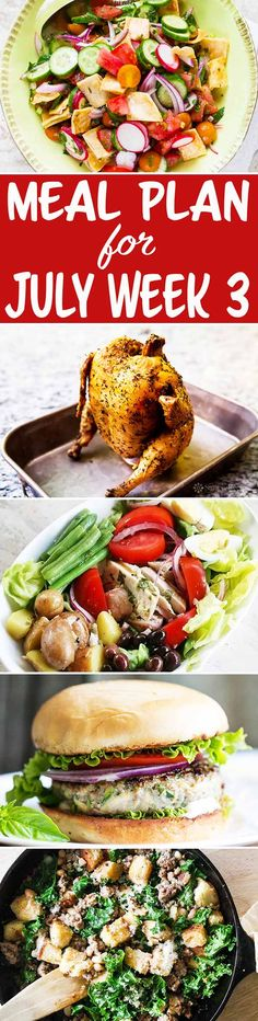 Here's your meal plan for July Week We've got Nicoise salad, a turkey zucchini burger, beer can chicken, and more! Weekly Dinner Menu, Beer Can Chicken, Nicoise Salad, Recipe Organization, Simply Recipes, Recipe Collections, Good Healthy Recipes, Menu Planning, Zucchini
