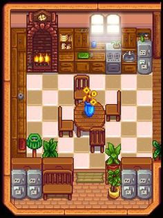 A kitchen idea, create a pantry for all your ingredients by using the backs of oak dressers! Stardew Farms, Stardew Valley Farms, Stardew Valley Layout, Stardew Valley Tips, Valley Game, Stardew Valley Fanart, Videogames, Farm Layout, Animal Crossing