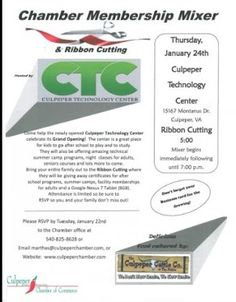 Save the Date: Chamber Membership Mixer AND Ribbon Cutting for Culpeper Technology Center, on January 22nd @5 p.m. RSVP Today!
