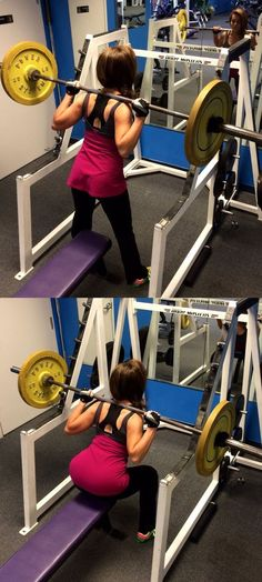 4. with the bar on your shoulders, (use appropriate waits for your strength), lower until your tush touches the bench and then stand up again. 10 reps each circuit, 3 circuits total