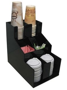The perfect combination for a coffee shop short on space, a condiment and cup and lid dispenser all in one!