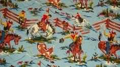 Nick & Nora Rio Grande Cowboys Flat Sheet Horses Western Wild West Jersey Knit