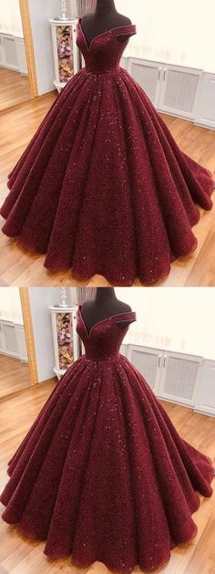 Sparkle Ball Gown V Neck Burgundy Off the Shoulder Prom Dress Quinceanera Dresses Prom Dresses Long Modest, African Prom Dresses, Princess Prom Dresses, Sequin Prom Dresses, Simple Prom Dress, Unique Prom Dresses, Beautiful Prom Dresses, Ball Gown Dresses, Cheap Dresses