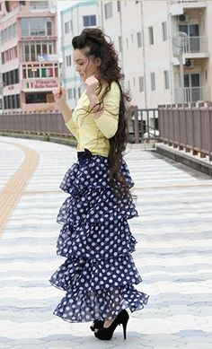 Women's Modest Polka Dot Tiered Bowknot Skirt Available in S-XL. - Apostolic Clothing