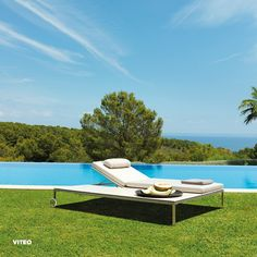 modern chaise lounge on lawn Modern Outdoor Furniture, Outdoor Decor, Outdoor Settings, Sun Lounger, Lawn, Swimming, Sky, Milling, Collection