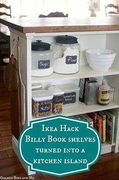 IKEA hack tutorial for DIY IKEA Furniture Tranformation. Turn Billy Bookshelves into a Kitchen Island | DIY Ready