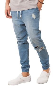 Elwood Pants The Distressed Denim Jogger in Medium Wash Blue