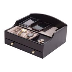 Mele & Co. Mens Java-finish Jewelry Box & Charging Station (brownish)