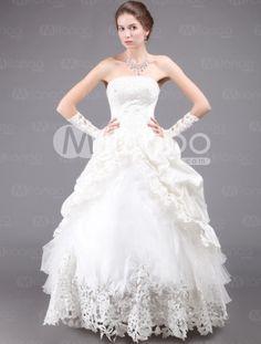Fashion Ivory Split Pattern Floor Length Tulle Lace Bridal Wedding Dress - Milanoo.com