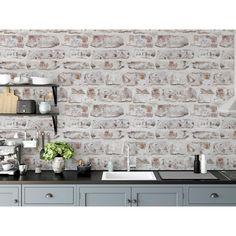 Brick Wallpaper Roll, Wood Wallpaper, Wallpaper Panels, White Wallpaper, Self Adhesive Wallpaper, Peel And Stick Wallpaper, White Brick Wallpaper Kitchen, White Brick Backsplash, Backsplash Wallpaper