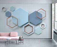Wall Murals 3D Wallpaper Blue Nordic Solid Geometry Hexagon Stitching Tv Background Wall 3D Wall Mural Living Room Sofa Tv Wall Bedroom Wallpaper: Amazon.co.uk: DIY & Tools