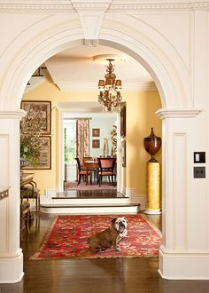 Look at Harry, sitting so regally in the foyer! - Traditional Home ®/ Photo: Mark Edward Harris and Michael McCreary / Design: Timothy Corrigan