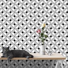 Papel de Parede Autocolante - preto e branco 0201 »