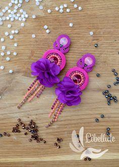 Soutache Earrings, Boho Earrings, Beaded Jewelry, Handmade Jewelry, Jewellery, Bead Art, Pink Flowers, Florence, Belly Button Rings