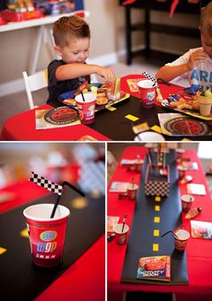 "PARTY HIGHLIGHTS to look out for: – ""Tires"" and ""roads"" created from black shelf liner material + yellow duct tape – ""Pit Crew Toolbox"" eating utensil holder for plates, napkins, and embellished forks – ""Re-fuel"" Drink Station featuring drink dispensers fitted with colorful funnels – ""Race Car"" kids chair backs crafted from colored duct tape and paper LightYear wheels"