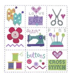 """Sewing Sampler (CSKSS145) Modern 'Sewing' sampler cross stitch kit which includes the addition of felt and buttons. Designed by The Stitching Shed. Contents: 14 count aida fabric, anchor threads, felt, buttons, chart and full instructions. Size: 8.5"""" x 9"""". *Usually dispatched within 5 working days*"""