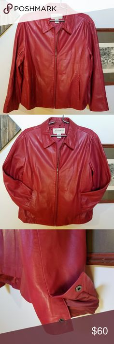 """Eddie Bauer Lambskin Leather Jacket Red is the Fashion Week runway color of the season! :) Shell is incredibly soft genuine lambskin leather. Polyester lined.  Flat measurements (approx.): Bust (armpit to armpit): 24"""" Sleeve (shoulder to hem): 25"""" Back of collar seam to hem: 24""""  Slight hanger stretch on left shoulder Small pinch mark on lower back; light wear on sleeve hem.  Condition: pre-owned Eddie Bauer Jackets & Coats"""