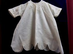 Antique Vintage baby white homemade dress embroidery scalloped  Shabby vintage