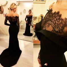 Black Prom Dresses,Mermaid Prom Dress,Lace Prom Dress,Off the