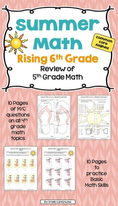 Skip the Summer Slide this year with this Summer Math Packet.  This review of 5th grade math is for rising 6th grade students.  The packet includes 10 pages (1 for each week) of Multiple Choice questions covering ALL of the 5th grade math topics.  There are also 10 additional pages (1 for each week) to practice basic math skills including addition, subtraction, multiplication, long division, and fractions. Answer keys are provided for easy grading.
