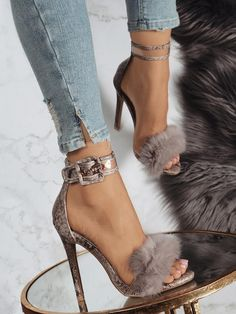 9c7c410a295 Sexy Faux Fur Anklet Buckles Heeled Sandals Heeled Sandals