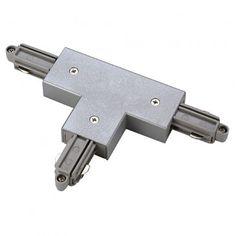 T-Verbinder für 1-Phasen HV-Stromschiene, Aufbauversion, Schutzleiter links, silbergrau / LED24-LED Shop