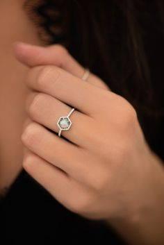 14kt gold and diamond labradorite hex ring – Luna Skye by Samantha Conn