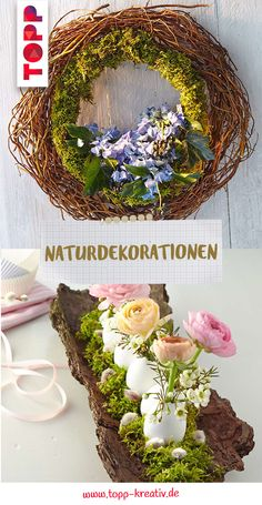 Natural decorations made of wood, branches, flowers & Co - Easter Day Flower Branch, Natural Materials, Natural Wood, Tree Bark, Made Of Wood, Grapevine Wreath, Wedding Centerpieces, Flower Arrangements, Vines
