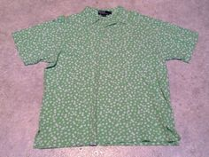 Ralph Lauren Polo Flower All Over Print Mens Vintage Green Shirt XL Extra Large