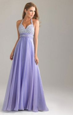 Lavender Floor-length A-line Halter Dress With Beading -