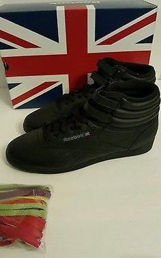 Reebok Women s Freestyle Hi Walking Shoe Black 10 M US for sale online  f7bb571a3