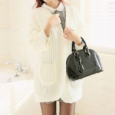 [grzxy6600881]Contrast Color V Neck Pockets Lace Cable Knitted Sweater