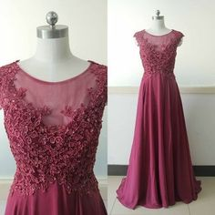 Eleagnt a-line long burgundy prom dress with cap sleeves