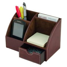 Dacasso Mocha Leather Desk Top Organizer | from hayneedle.com