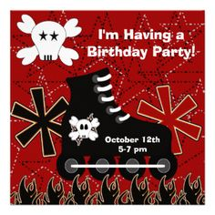 If he's having a skate theme birthday party or a party at the skatepark, he'll love these birthday invitations! Easy to customize with your birthday party information, these skating theme birthday invitations feature black inline skates, skulls and crossbones, and flames! #skate #skating #skatepark #inline #skating #skateboard #custom #boys #customized #kids #personalized #cool #flames #skull #and #crossbones #peacockcards