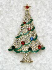 MULTICOLOR RHINESTONE CRYSTAL STARS CHRISTMAS TREE PIN BROOCH A213