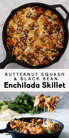 A healthy vegetarian Mexican-inspired dinner -- butternut squash and black bean . A healthy vegetarian Mexican-inspired dinner — butternut squash and black bean enchilada skillet. Tasty Vegetarian Recipes, Vegetarian Dinners, Vegetarian Cooking, Mexican Food Recipes, Whole Food Recipes, Cooking Recipes, Keto Recipes, Paleo Food, Paleo Diet
