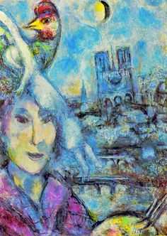 Marc Chagall - Between Surrealism & NeoPrimitivism - 1917cc Self Portrait