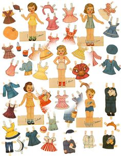 Retro 1940s Children Paper Doll Set 5 Dolls/82 Costumes Printable Vintage Digital Download Ephemera Birthday Party Set Retro Paper Dolls