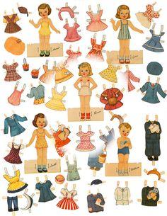 Retro 1940s Children Paper Doll Set 5 Dolls/82 Costumes Printable Vintage Digital Download Ephemera Birthday Party Set Retro Paper Dolls