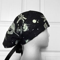 Glow In The Dark hat! Star Wars Ships Tie Back Scrub Hat- perfect for Surgical Tech Week